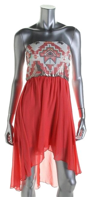 As U Wish Coral High-low Cocktail Dress Size 4 (S) As U Wish Coral High-low Cocktail Dress Size 4 (S) Image 1