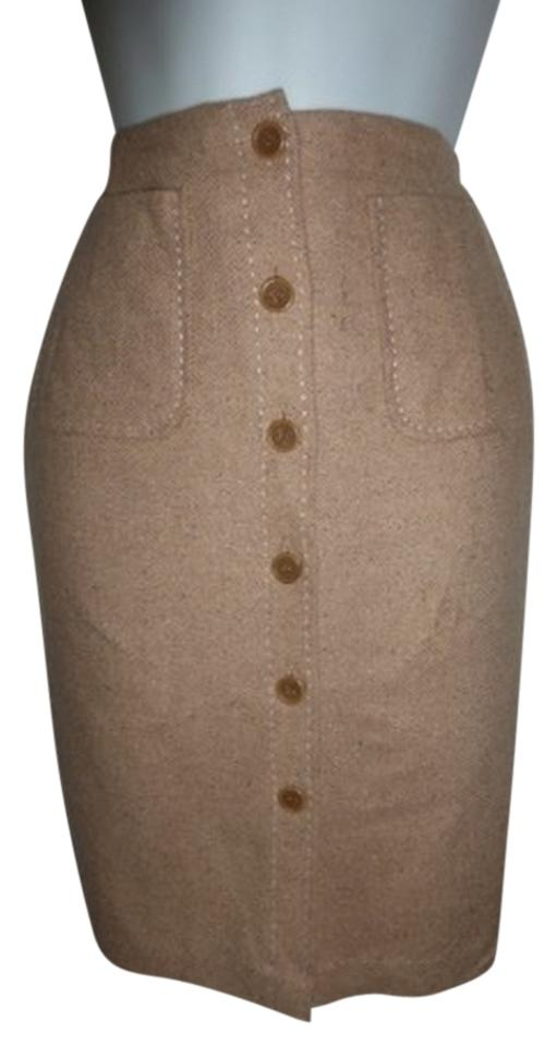 ca13a75a6 Ann Taylor Tan with Stitching Button Down Wood Pencil Skirt Size 6 ...