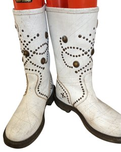 Ash Boot Midcalf Leather Off white with brass-colored grommets Boots
