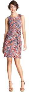 Ann Taylor short dress Navy and Orange Print Paisley Transistion Clothing Work Wear on Tradesy