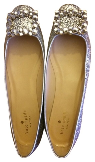 Item - Silver Norella Crystal-buckle Glitter Flats Size US 9