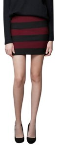 Zara Mini Mini Skirt Black/Maroon Stripe
