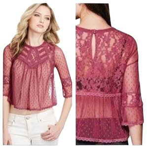 Free People Crop Lace Top wine
