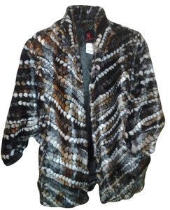 Adrienne Landau New New With Tags Pattern Faux Faux Jacket Cape Batwing Doleman Sleeve Sleeves Oversized Loose Fit Small Medium Fur Coat
