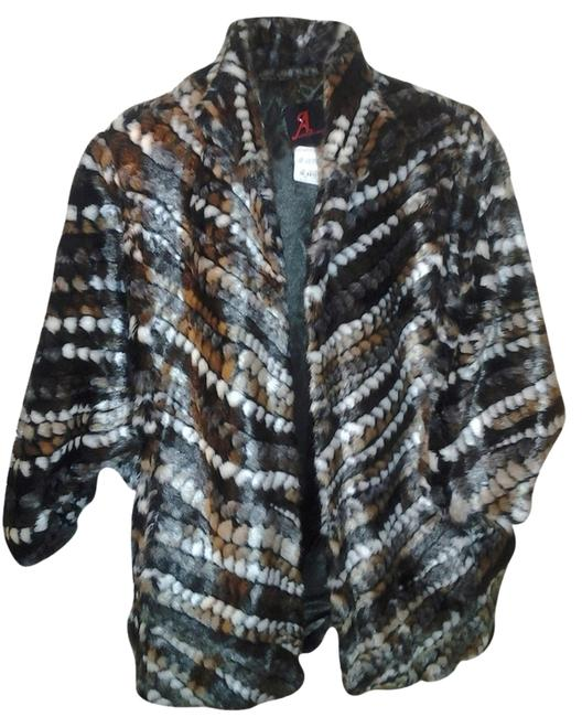 Item - Brown Black Grey White Chevron Stripe XS Sale New Faux Batwing Sleeve Oversize Jacket Fits To Med Coat Size 2 (XS)