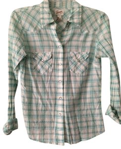Aeropostale Button Down Shirt blue plaid