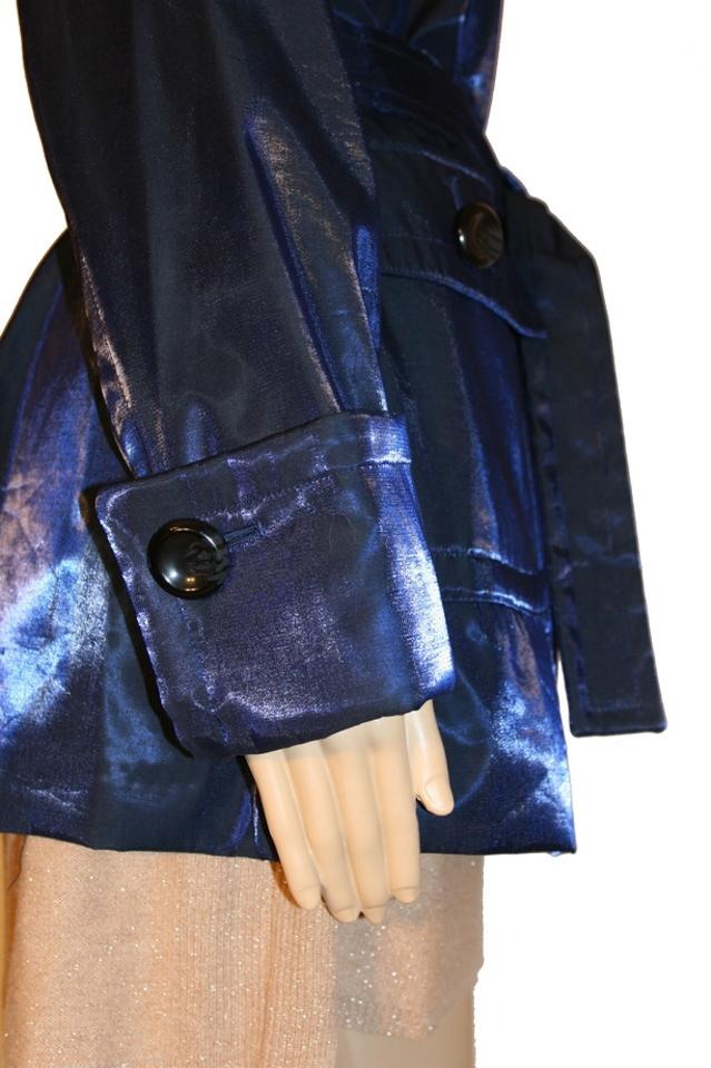 Hilary Radley Blue Metallic Trench Coat Size 6 (S) - Tradesy : hilary radley quilted jacket - Adamdwight.com