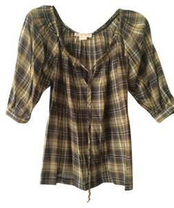 Michael by Michael Kors Top yellow plaid