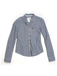 Abercrombie & Fitch Checkered-gingham Checkered Button Down Shirt dark blue