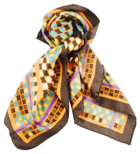 Missoni Missoni Brown And Orange Multi Print Silk Square Scarf New With Tags