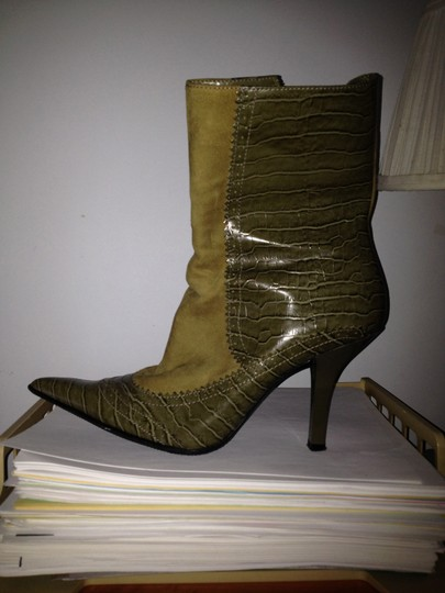 Nine West Green Leather Upper Balance man made Boots