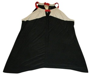 The Limited Black, Cream and Red Halter Top