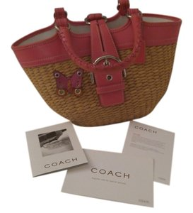 Coach Rare Straw Butterfly Tote in Pink & Natural