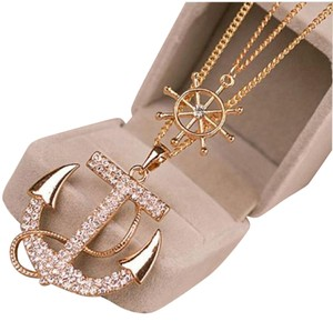 New Nautical Ship Stern Anchor Necklace Gold Tone Crystals 22 in. Long J1400