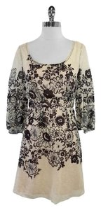 Tracy Reese short dress Tan Brown Floral Print Linen Blend on Tradesy