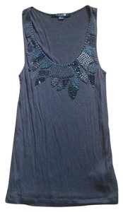 Forever 21 Charlotte Russe Tank Shirt Tee Embellished Beaded Vintage Rare Club Party Unique S Small Blue Pink Top Gray