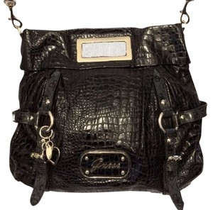 Guess Faux Croc Cross Body Handbag Jacquard Convertible Satchel in Black