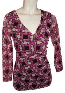 INC International Concepts Blouse Sheer Wrap Top pink, black print