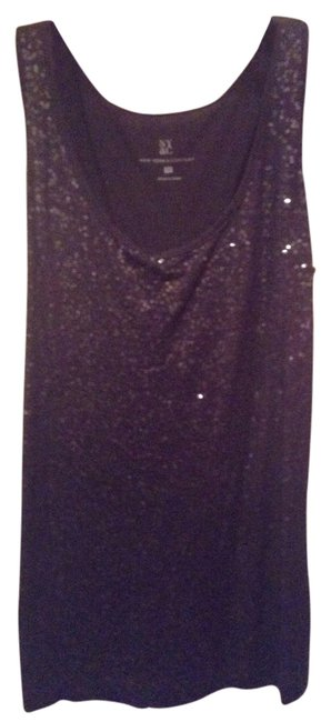 Item - Ny&co The Limited Loft Sequin Beaded Embellished Tank Tee Shirt Blouse Charcoal Slate (Gray Black) Top
