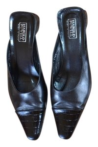 Harold Powell Alligator Low Heel Slip On Black Mules