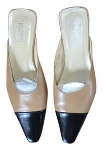 Harold Powell Business Slip On Low Heel Tan & Black Mules