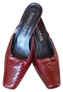 Harold Powell Heel Leather Red Mules