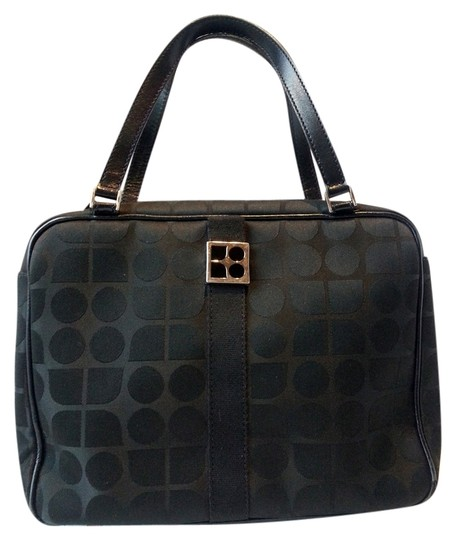 Kate Spade Made In Italy Hologram Sateen Dot Noel Leather Handles Lampo Zipper Silver Hardware Metal Stamped Logo Tote in Black Image 0