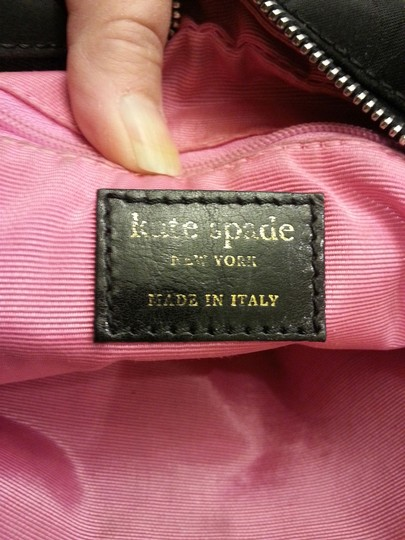 Kate Spade Made In Italy Hologram Sateen Dot Noel Leather Handles Lampo Zipper Silver Hardware Metal Stamped Logo Tote in Black Image 6