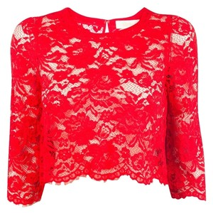 Candela Shirt Lace Cropped Crop Anthropologie Top Red