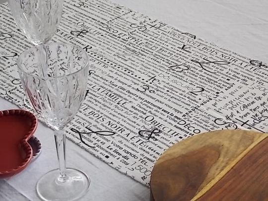 Black and White French Script Wht Table Runners Tablecloth Image 1
