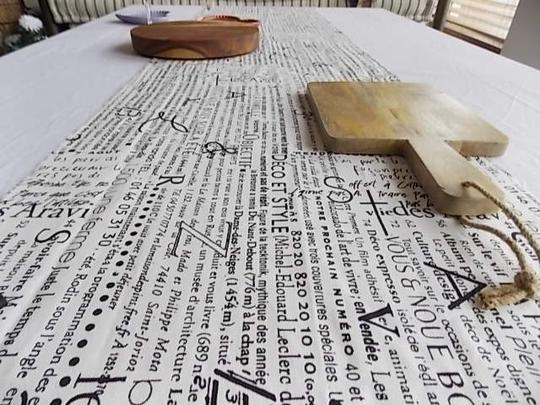 Black and White French Script Wht Table Runners Tablecloth Image 7