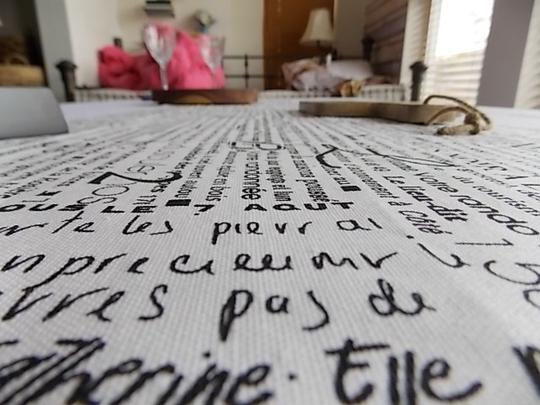 Black and White French Script Wht Table Runners Tablecloth Image 8