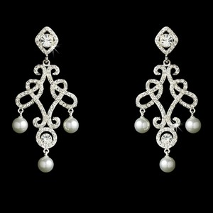Elegance By Carbonneau Crystal And Pearl Chandelier Wedding Earrings