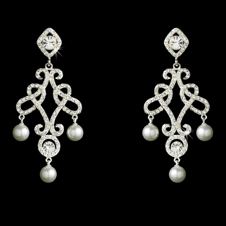 Elegance by carbonneau silver crystal and pearl chandelier earrings arubaitofo Image collections