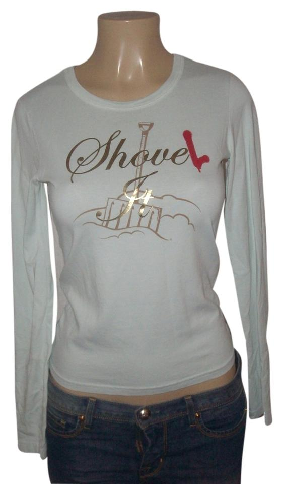 f3ad5a5e Juicy Couture Mint Pre Owned Cotton Gold Metallic Graphics Tee Shirt. Size:  6 ...