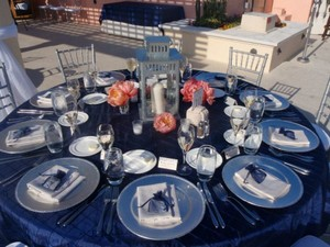 """Blue 12 Navy Pinktuck 90"""" Square Overlay Linens & Tablecloth"""