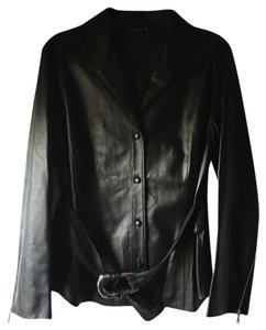 Lafayette 148 New York Leather Black Silver Jacket Top Black Leather