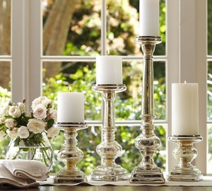 Silver Mercury Glass Pillar Candleholders