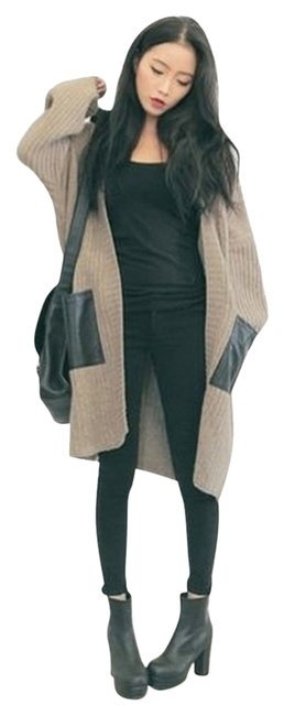Other Korea Style Asian Cardigan Brown Black Knit Long Faux Pocket Style Coat