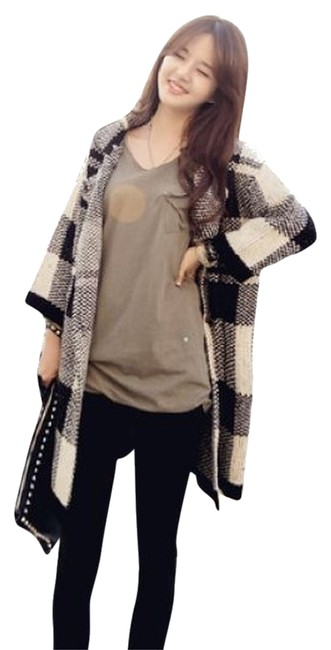 Other Koreas Style Asian Style Grey Check Checked Knit Knitted Cardigan Pocket Double Breasted Jacket Long Cute Coat