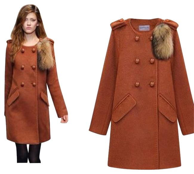 Other Removable Fur Jacket Tan Red Long Double Breasted Pea Coat