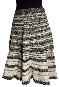 Oscar de la Renta 3/4 Silk Stripe Skirt black/white