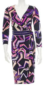 Emilio Pucci Blue Abstract Print New V-neck Longsleeve 6 S Small 40 Belted Dress