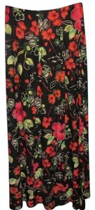Coldwater Creek Maxi Skirt black with floral print