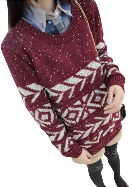 Other Aztec Knit Maroon Cute Asian Style Pattern Sweater