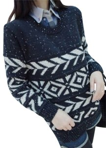 Other Aztec Pattern Knit Blue Sweater