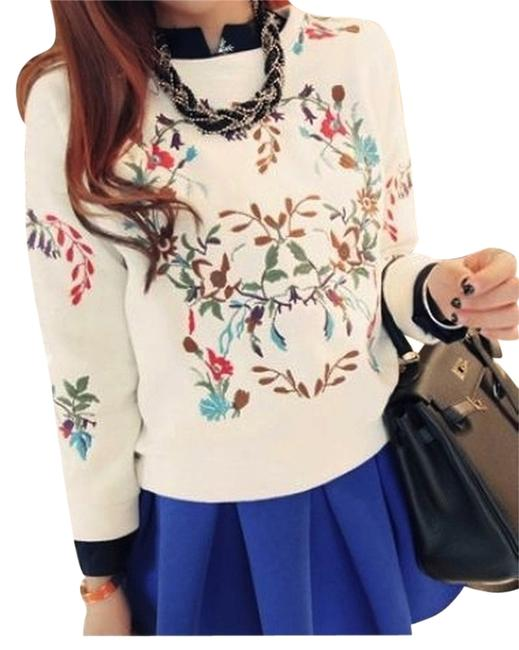 Other Flower Floral Embroidered Multicolor Asian Cute Sweater