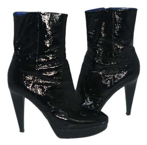 Sergio Rossi Patent Leather Platform black/white Boots