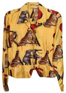 Dana Buchman Vintage Animal Theme Animal Button Down Shirt Gold