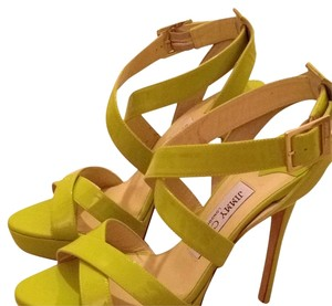 Jimmy Choo Plat Platform Neon Sandals Citron Platforms